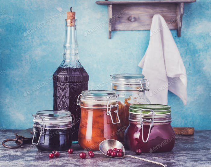 Various jars of homemade jam