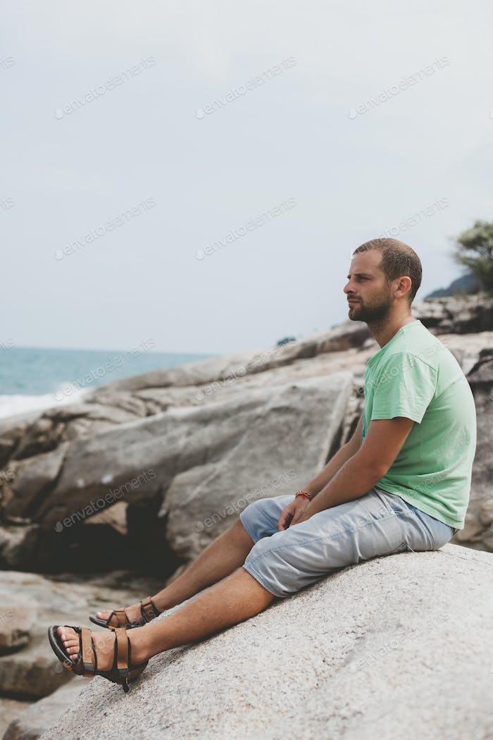 Guy on seashore