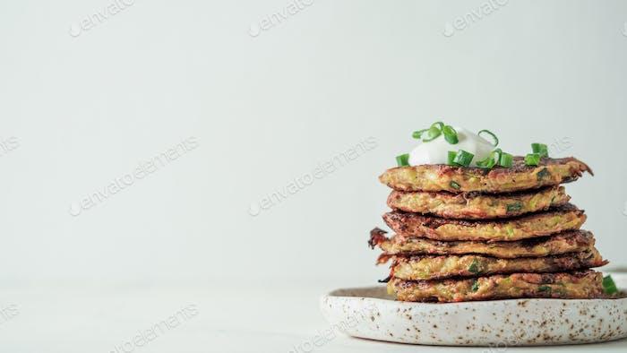 Gluten free zucchini fritters, copy space