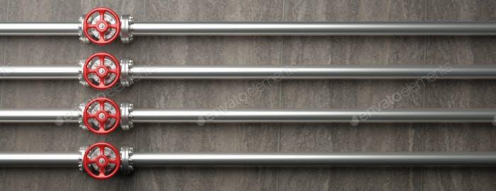 Industrielle Rohrleitungen und Ventile mit roten Rädern auf grauem Wandhintergrund. 3D Illustration