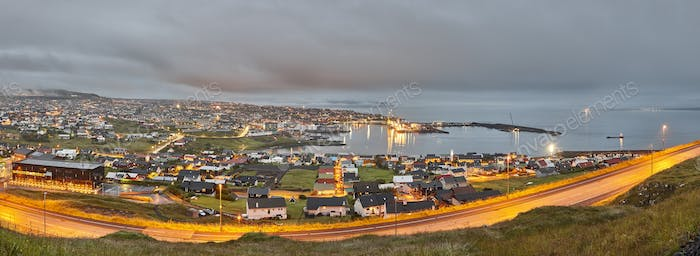 Thumbnail for Torshavn city panoramic view summer night. Faroe islands capital town.