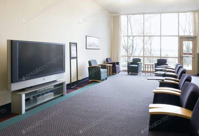 Seats and television in lounge