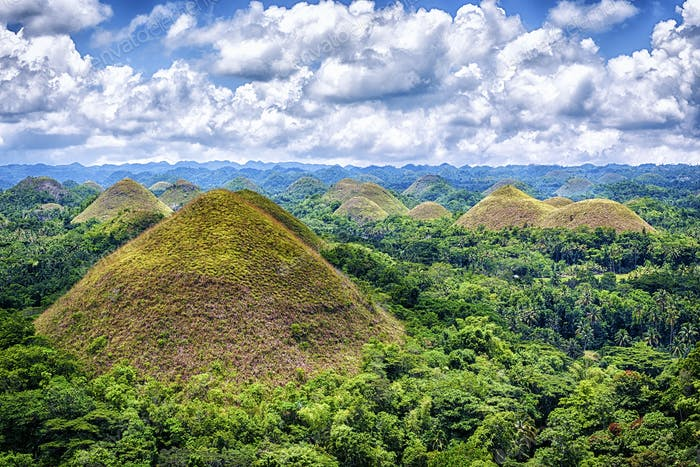 Landscape of the Bohol region, The Chocolate Hills. Limestone formations,