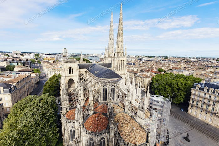 Saint Andre Cathedral on Place Pey-Berland in Bordeaux