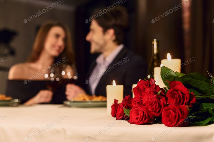 Romantic dinner for couple, booking concept
