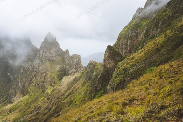 Santo Antao Island, Cape Verde Cabo Verde. Impressive rugged mountain range overgrown with verdant