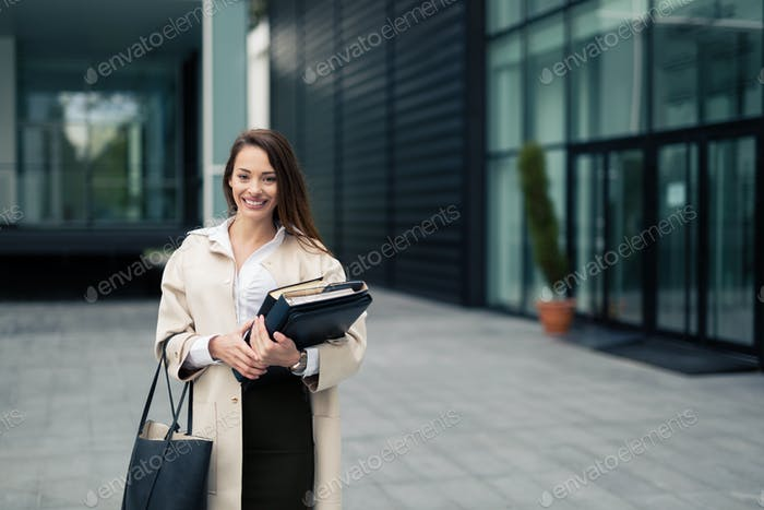 Successful happy businesswoman outdoors