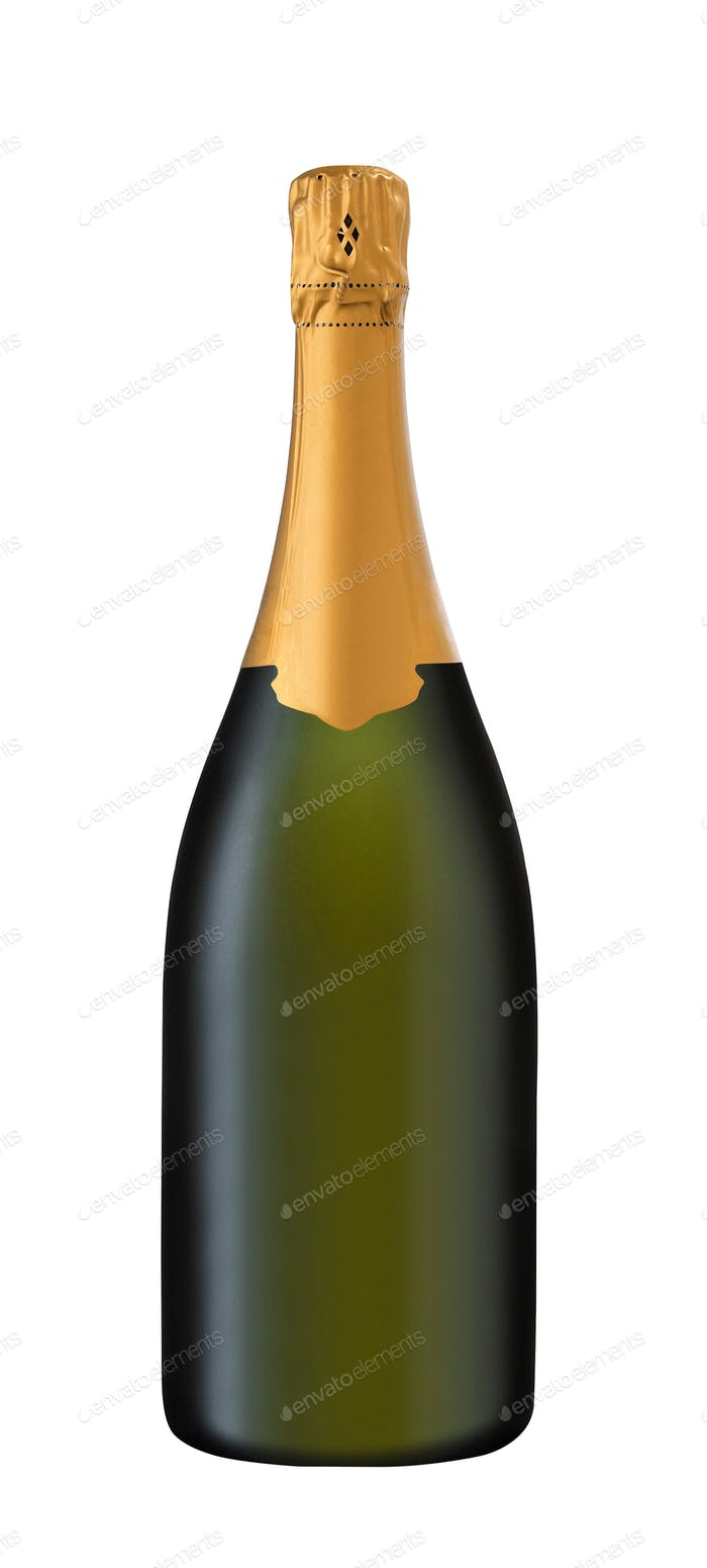 bottle of sparkling wine on a white background
