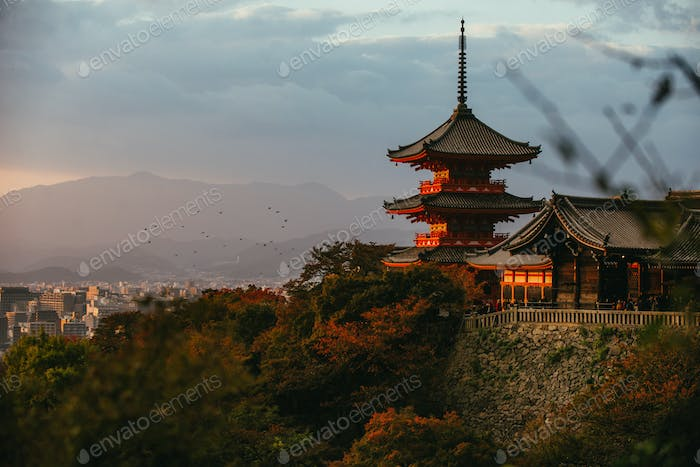 Historic temple on the hills in Kyoto, kiyomizudera pagoda at sunset time