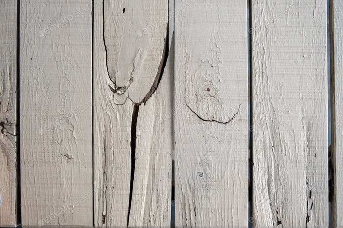 Vintage wood white painted background, Old weathered wooden planks partially broken
