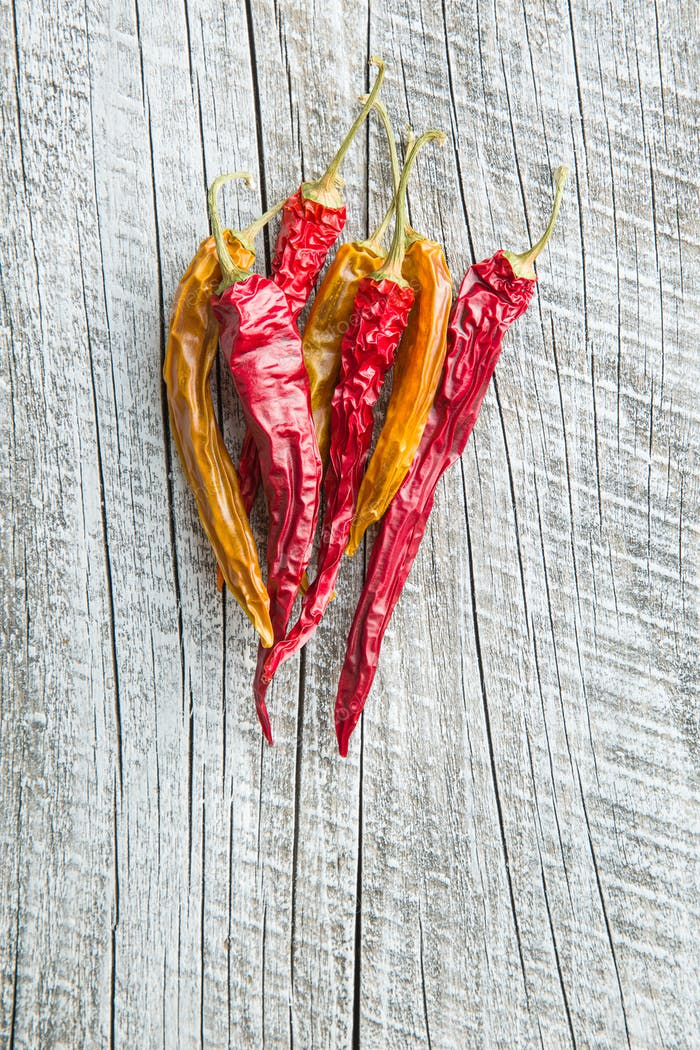 Dried chili peppers.