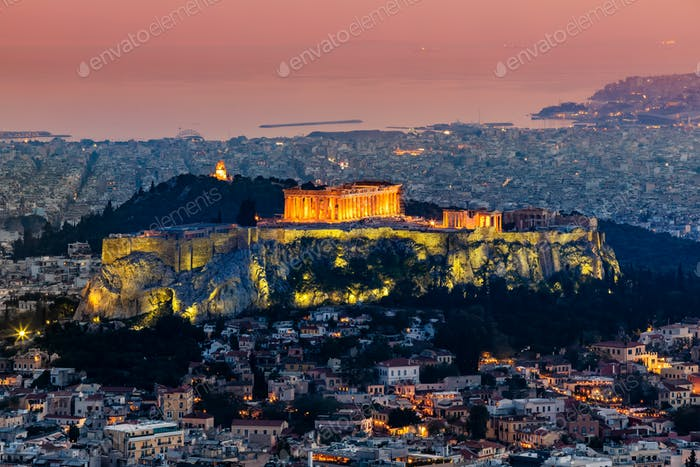 Scenic panoramic view on Acropolis in Athens, Greece at sunset.