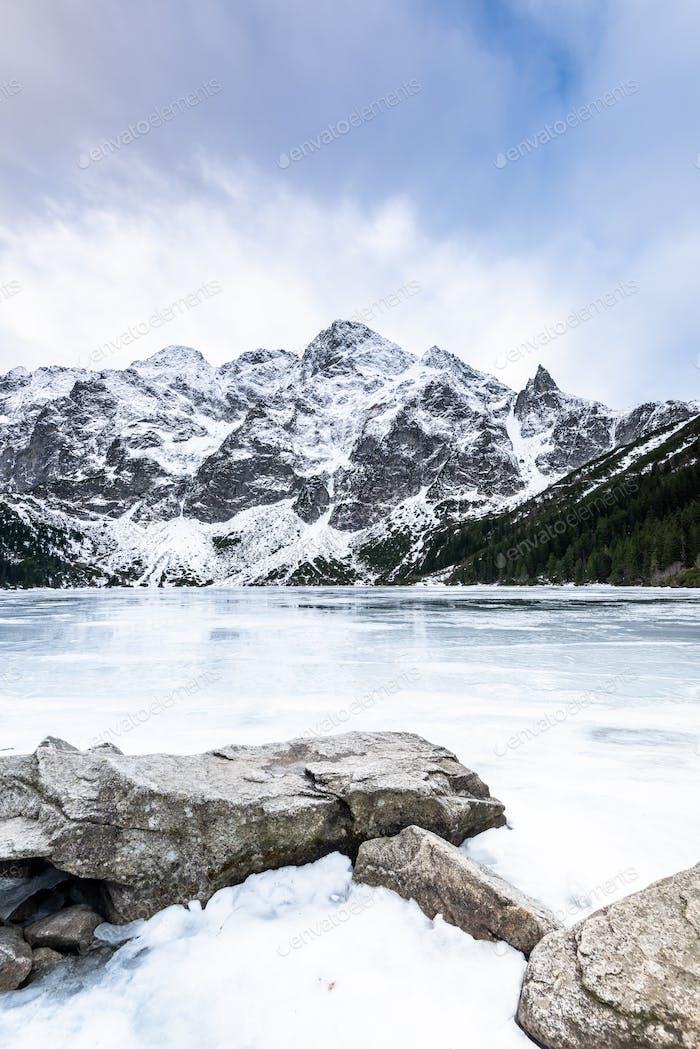 Frozen Lake Morskie Oko or Sea Eye Lake in Poland at Winter