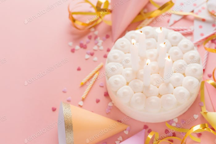 Party birthday background with cake