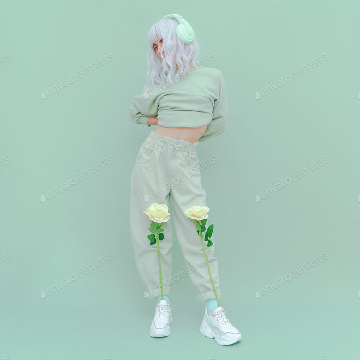 Fashion Dj vanilla Girl in Fresh Mint clothing. Minimal aesthetic monochrome design. Aqua menthe