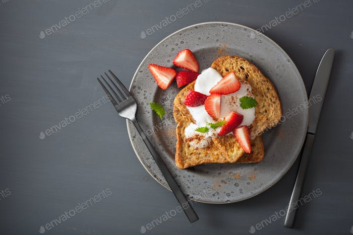 french toasts with yogurt and strawberries for breakfast
