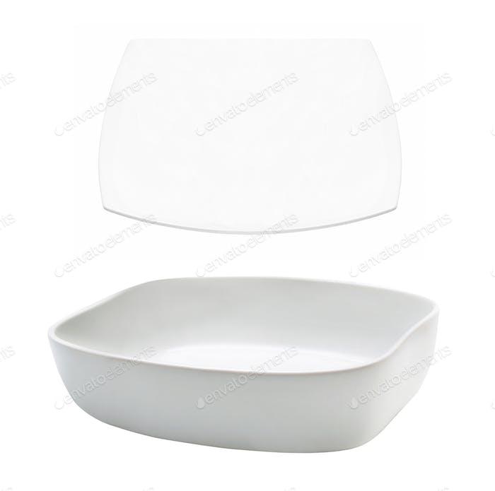 White plates on white