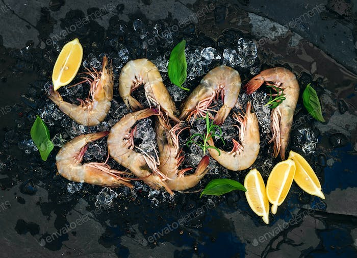 Fresh uncooked shrimps with lemon, herbs and spices on chipped ice
