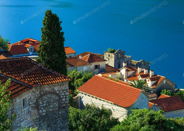 Tiled roofs of Perast city. Kotor bay, Montenegro