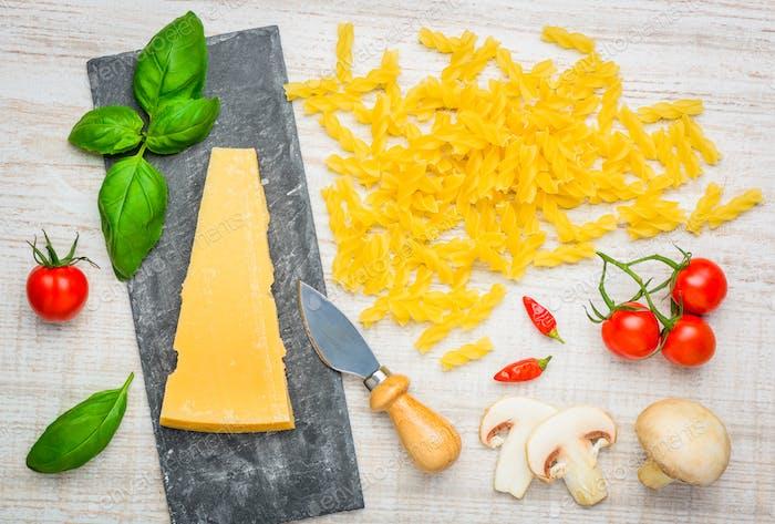 Fusilli Pasta and Parmesan Hard Cheese