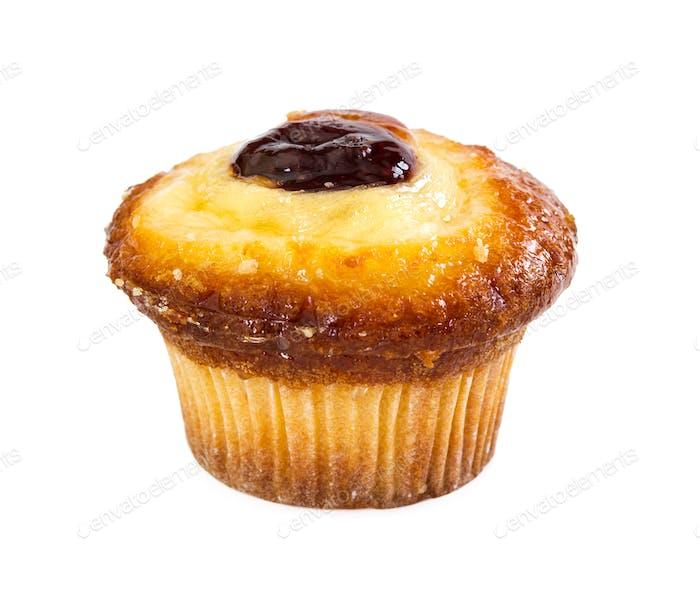 Hüttenkäse und Vanille-Muffin mit Marmelade