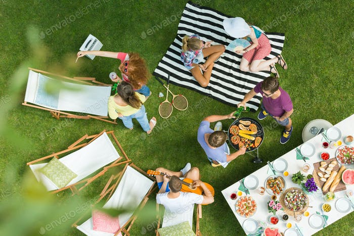 High angle of barbecue party