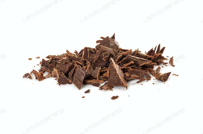 Chocolate shavings of bitter chocolate isolated on white