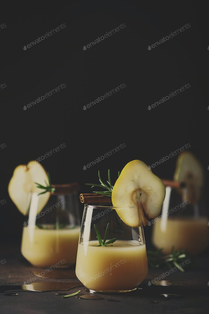 Healthy soft drink with pears