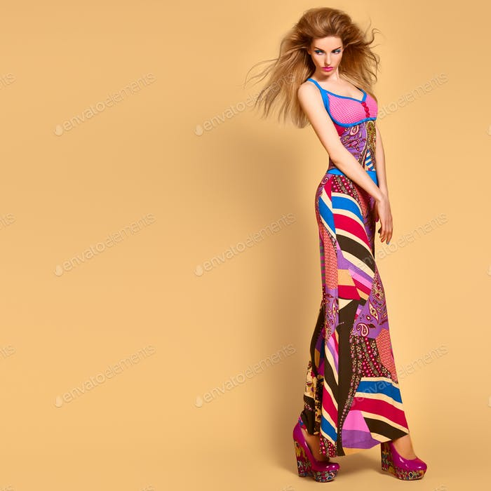 Fashion Model woman, colorful Summer Outfit,Makeup
