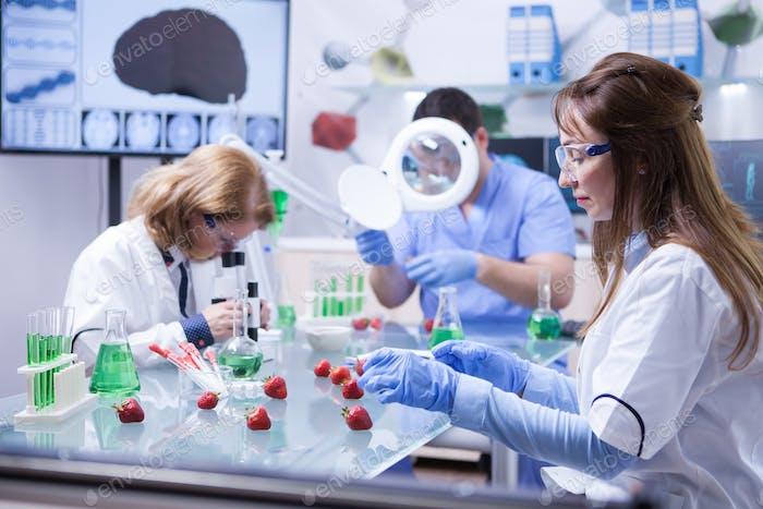 Ученый по вопросам питания, работающий в исследовательской лаборатории в белом халате