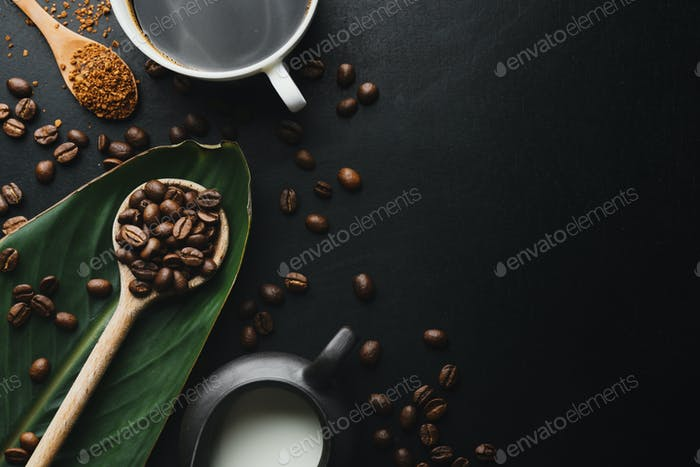 Coffee in cups with coffee beans