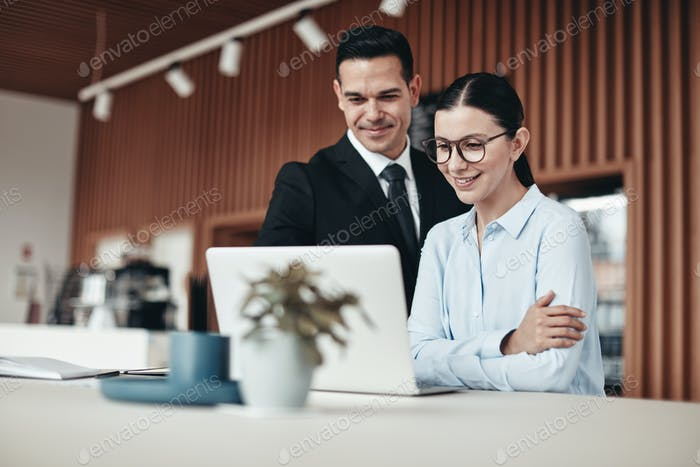 Smiling businesspeople standing in an office working on a laptop