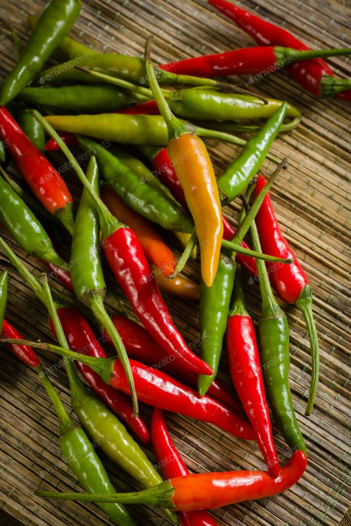 Thai Red and Green Chilis