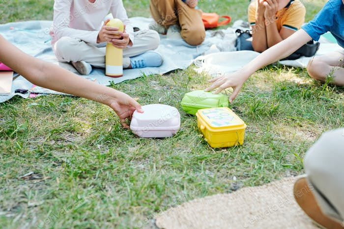 Taking lunch boxes