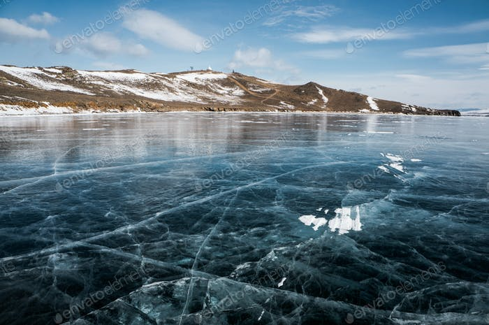 beautiful landscape view of frozen river and mountains in winter, Russia, Lake Baikal, march 2020