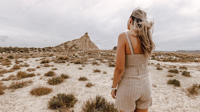 Young woman on the Bardenas Reales desert