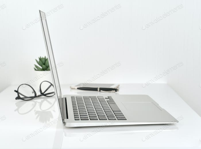Working Space or Office desk, concept of study, white wall background