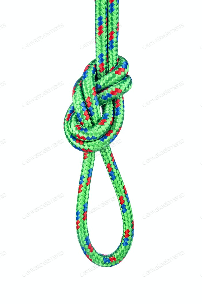 Figure eight knot on white