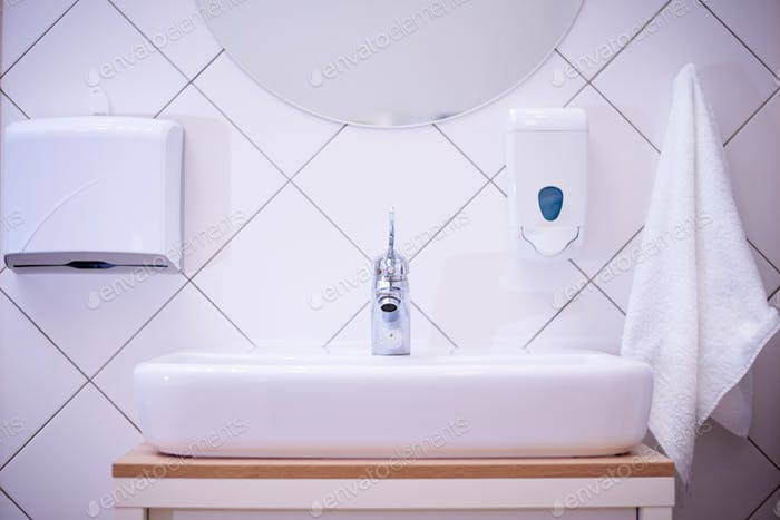 White sink in the restroom