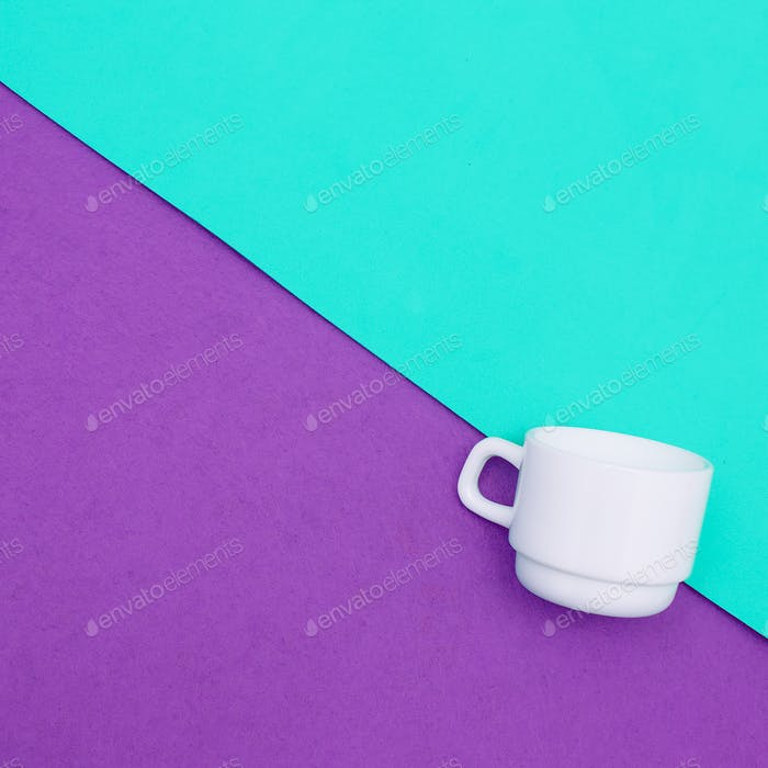 Coffee cups. Minimal art. Candy colors