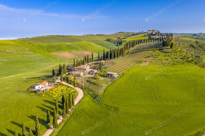 Aerial view Tuscany