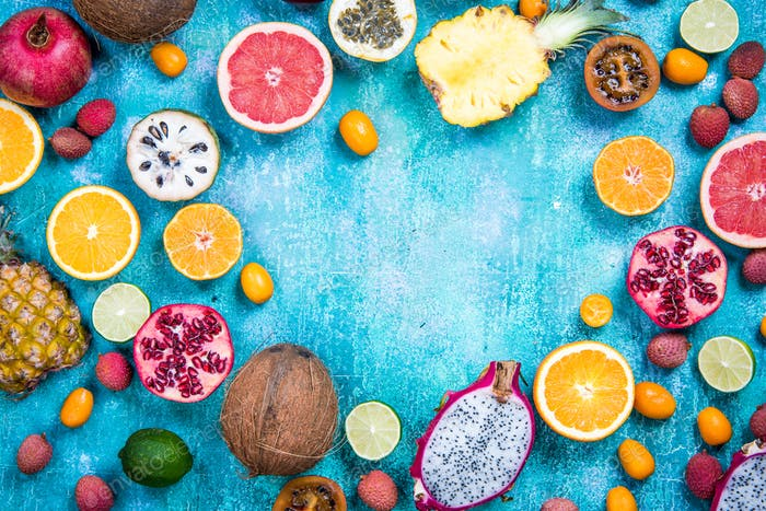 Exotic fruits, healthy eating concept copy space