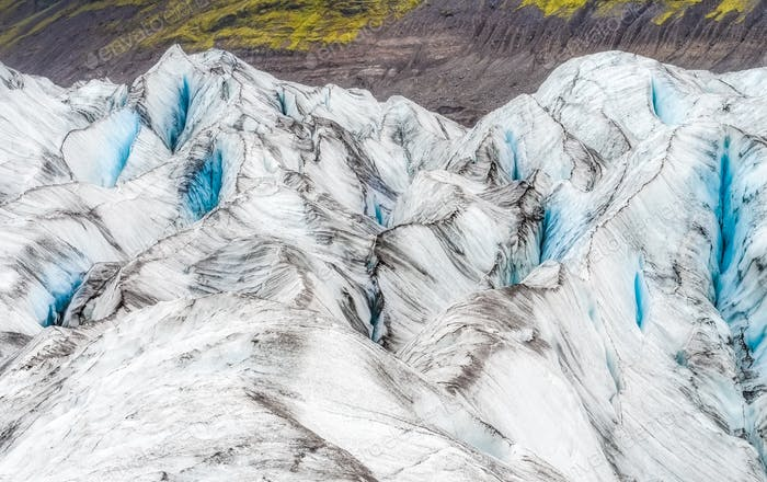 Detail view of glacier textures and colors, Vatnajokull