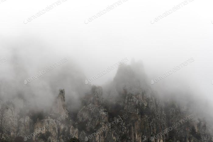 Fragment of the mountain top in Armenia, fog free space