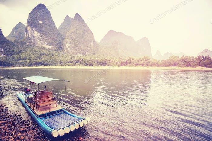Bamboo raft at Li River, Xingping, China.