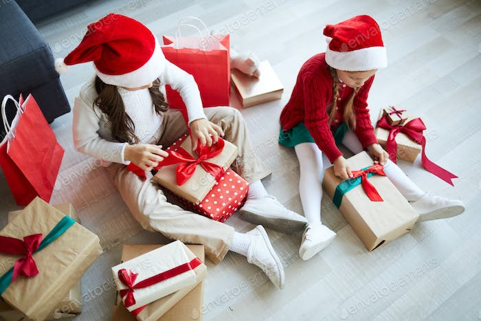 Unpacking boxes with gifts