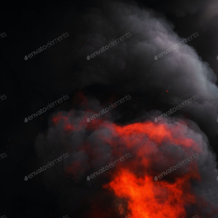Flames of Red Fire and Motion Blur Dramatic Clouds of Black Smoke Covered Sky