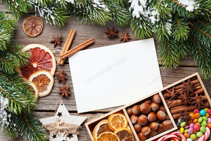 Christmas food decor and greeting card