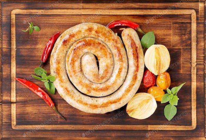 homemade fried sausage,