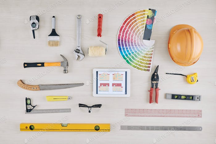 Construction tools flatlay